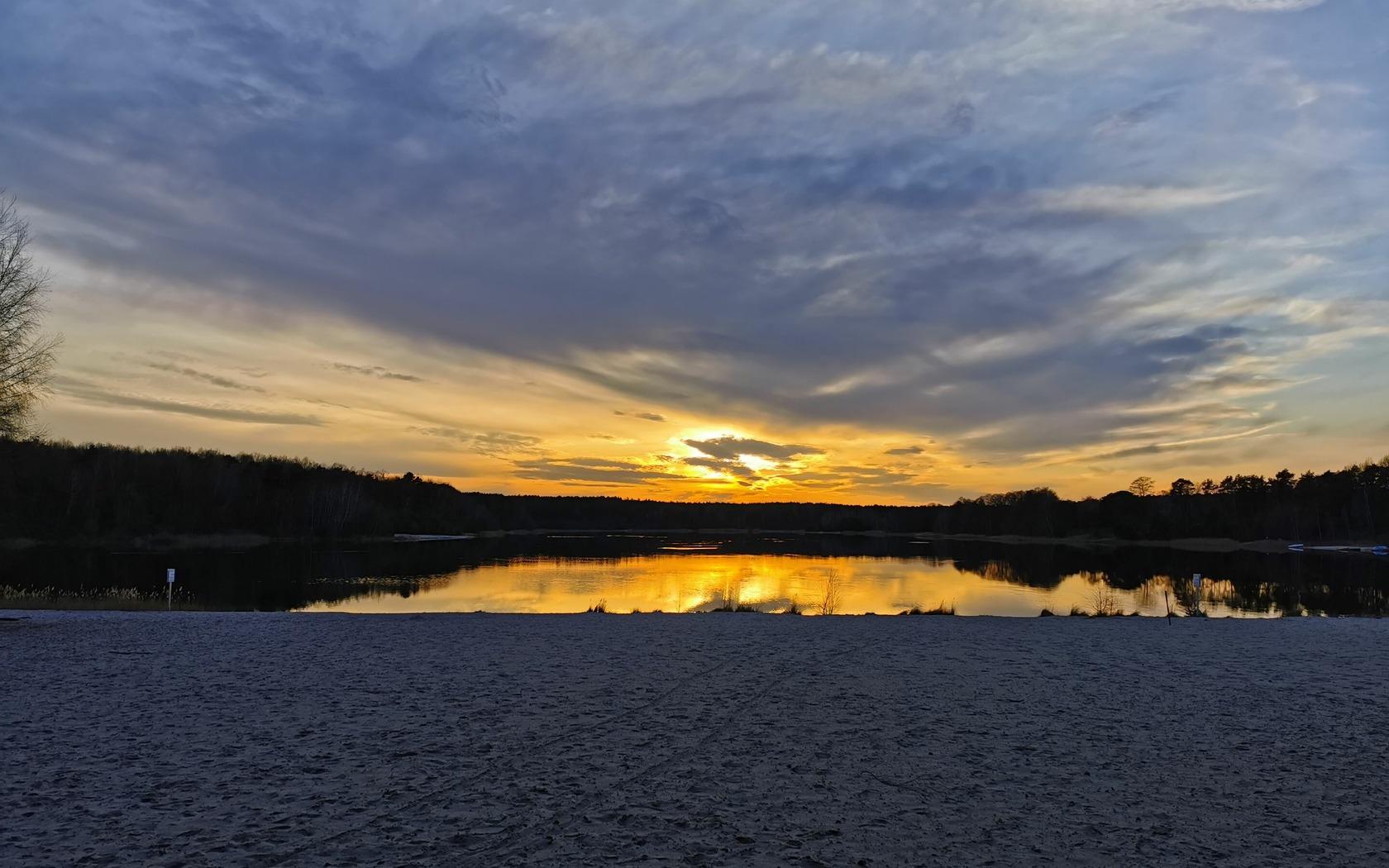 Sonnenuntergang am Großsee, Foto: R. Jahn, Lizenz: R. Jahn